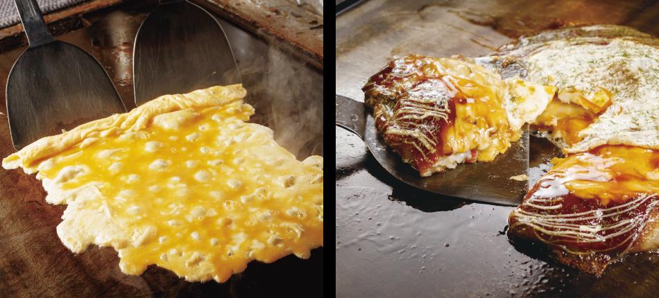 大阪で飲食店のメニュー・販促物の制作は「おいしいデザイン.com」 お好み焼じんべえ 店内・料理画像